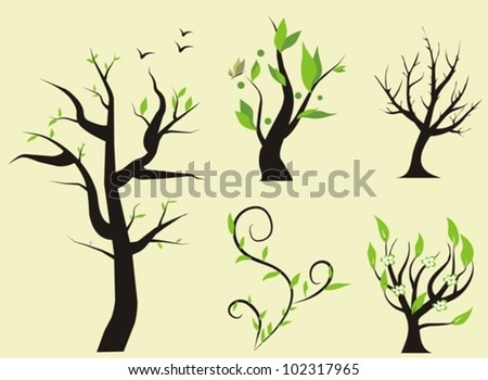 set of trees, vector illustration - stock vector