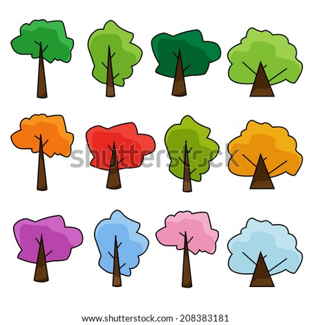 Set of trees. Vector illustration.