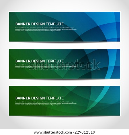 Set of trendy blue and green vector banners template or website headers with abstract geometric background. Vector design illustration EPS10 - stock vector