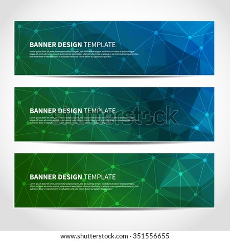 Set of trendy blue and green vector banners template or website headers with abstract geometric triangular background. Vector design illustration EPS10 - stock vector