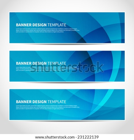 Set of trendy blue vector banners template or website headers with abstract geometric background. Vector design illustration EPS10 - stock vector