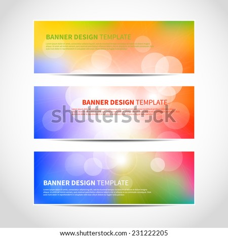 Set of trendy bright colorful vector banners template or website headers with abstract geometric bokeh background. Vector design illustration EPS10 - stock vector
