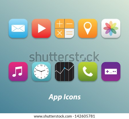 Set of 10 trendy buttons / icons for websites (UI) or applications (app) for smartphones or tablets. - stock vector