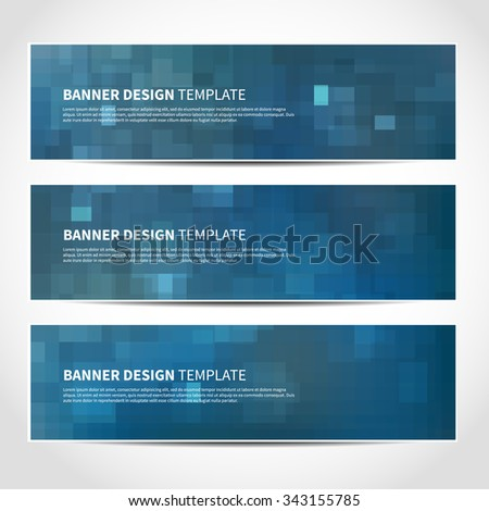 Set of trendy Christmas blue vector banners template or website headers with abstract geometric background. Vector design illustration EPS10 - stock vector