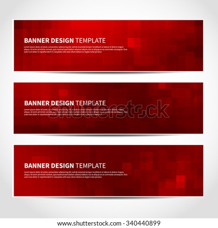 Set of trendy Christmas red vector banners template or website headers with abstract geometric background. Vector design illustration EPS10 - stock vector