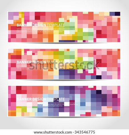 Set of trendy colorful mosaic vector banners template or website headers with abstract geometric background. Vector design illustration EPS10 - stock vector