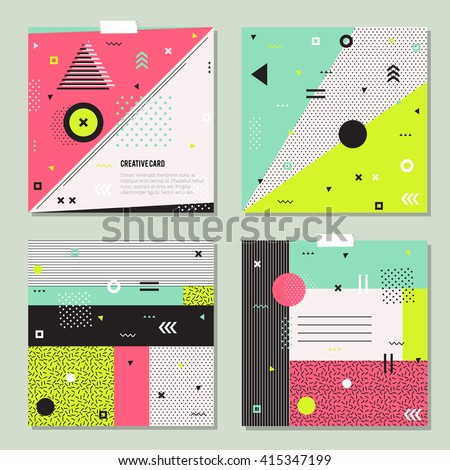 Set of trendy geometric elements memphis cards.  Retro style texture, pattern and geometric elements. Modern abstract design poster, cover, card design. - stock vector