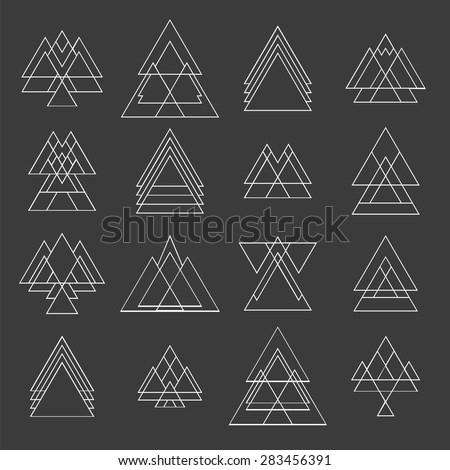 Set of trendy geometric shapes. Geometric hipster logotypes collection. Vector illustration - stock vector