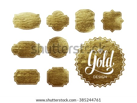 Set of Trendy Gold Foil Tags with Free Space for Your Text.