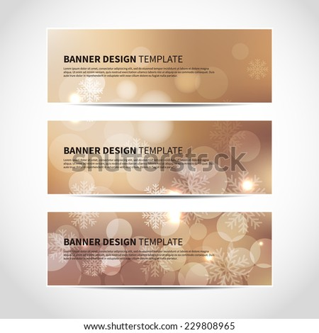 Set of trendy gold vector banners template or website headers with abstract bokeh background with snowflakes. Christmas party invitation cards. Vector design illustration EPS10 - stock vector