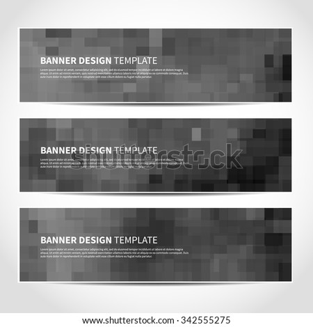 Set of trendy gray vector banners template or website headers with abstract geometric background. Vector design illustration EPS10 - stock vector