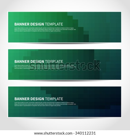 Set of trendy green vector banners template or website headers with abstract geometric background. Vector design illustration EPS10 - stock vector