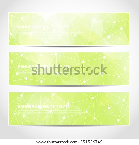Set of trendy green vector banners template or website headers with abstract geometric triangular background. Vector design illustration EPS10 - stock vector