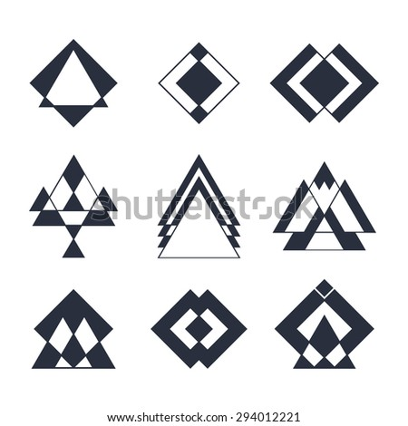 Set of trendy hipster geometric shapes. Geometric logotypes or icons collection. Ethnic tattoo. Vector illustration - stock vector