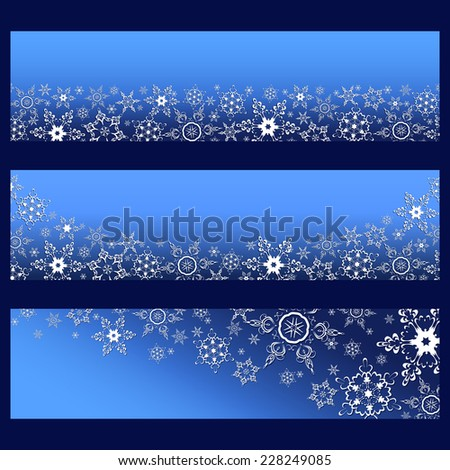 Set of trendy horizontal banners with 3d white ornate snowflakes isolated. Christmas and New Year card. Beautiful stylish wallpaper. Vector illustration