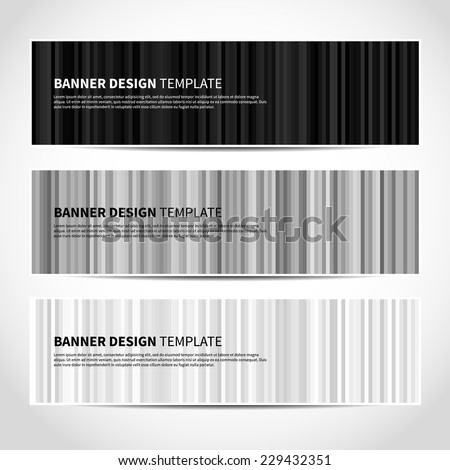 Set of trendy monochrome black and white striped vector banners template or website headers with abstract geometric background. Vector design illustration EPS10 - stock vector