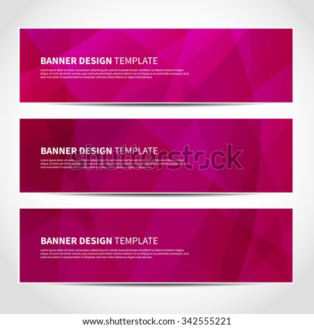 Set of trendy pink vector banners template or website headers with abstract geometric background. Vector design illustration EPS10 - stock vector