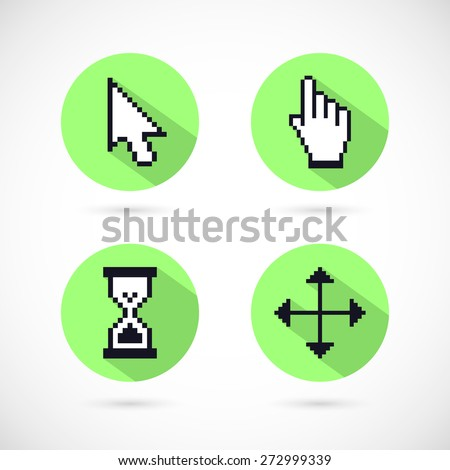 Set of trendy pixel cursors icons: arrows, hourglass, hand. Isolated on white background. Vector Illustration, eps 10. - stock vector