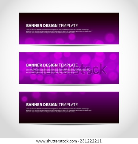 Set of trendy purple and black vector banners template or website headers with abstract geometric bokeh background. Vector design illustration EPS10 - stock vector