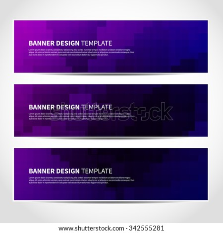 Set of trendy purple vector banners template or website headers with abstract geometric background. Vector design illustration EPS10 - stock vector