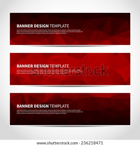 Set of trendy red vector banners template or website headers with abstract geometric background. Vector design illustration EPS10 - stock vector
