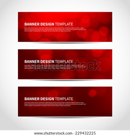 Set of trendy red vector banners template or website headers with abstract geometric bokeh background. Vector design illustration EPS10 - stock vector