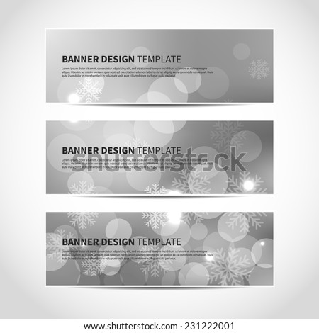Set of trendy silver vector banners template or website headers with abstract bokeh background with snowflakes. Christmas party invitation cards. Vector design illustration EPS10 - stock vector