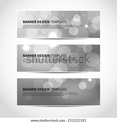 Set of trendy silver vector banners template or website headers with abstract geometric bokeh background. Vector design illustration EPS10 - stock vector