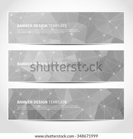 Set of trendy silver vector banners template or website headers with abstract geometric triangular background. Vector design illustration EPS10 - stock vector