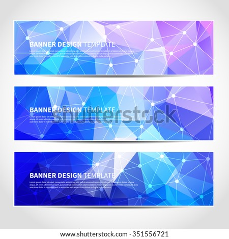 Set of trendy vector banners template or website headers with abstract geometric triangular background. Vector design illustration EPS10 - stock vector