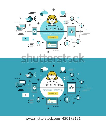 Set of trendy vector illustration concepts of social media. Line flat design hero banners for websites and apps with call to action button, ready to use