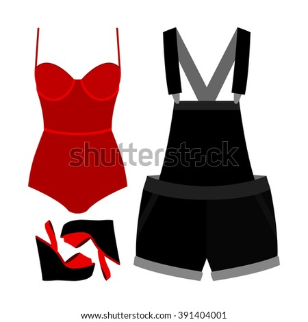 Set of trendy women's clothes. Outfit of woman denim overall, swimsuit and accessories. Women's wardrobe. Vector illustration