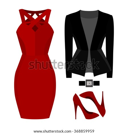 Set of trendy women's clothes. Outfit of woman jacket, dress and accessories. Women's wardrobe. Vector illustration