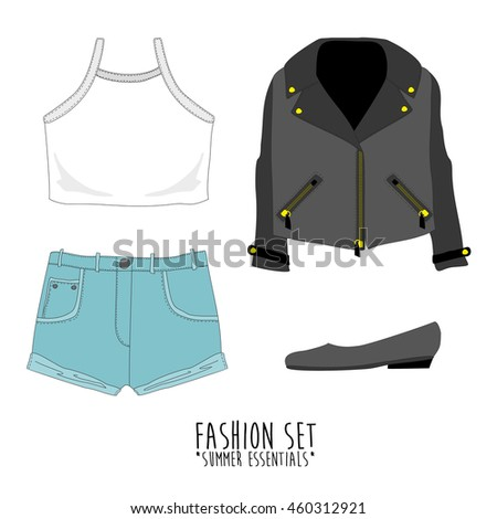 Set of trendy women's clothes. Vector illustration. eps10