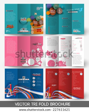 Set Of Tri-fold Brochure Design Element. - stock vector