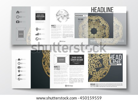 Set of tri-fold brochures, square design templates with element of world globe. Golden microchip pattern on dark background, mandala template with connecting dots and lines. - stock vector
