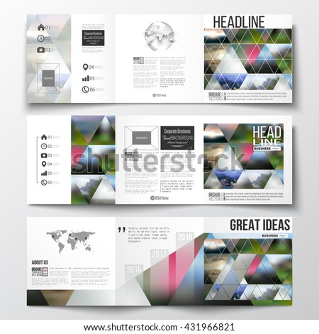 Set of tri-fold brochures, square design templates with element of world map and globe. Abstract colorful polygonal background, natural landscapes, geometric, triangular style vector illustration - stock vector