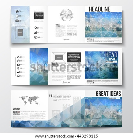 Set of tri-fold brochures, square design templates with element of world map and globe. Abstract blue polygonal background, colorful backdrop, modern stylish vector texture. - stock vector