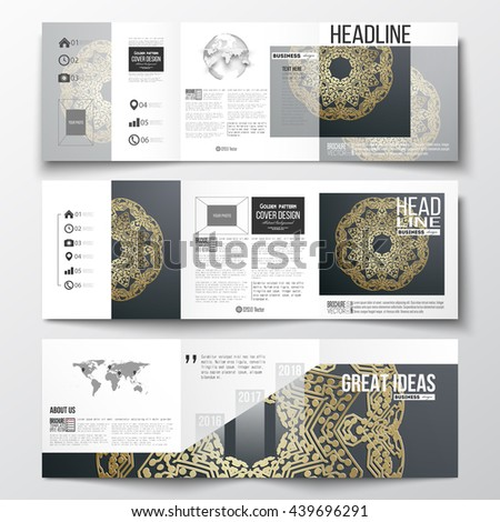 Set of tri-fold brochures, square design templates with element of world map and globe. Golden microchip pattern on dark background, mandala template with connecting dots and lines - stock vector
