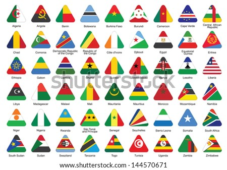 set of triangle icons with African flags - stock vector