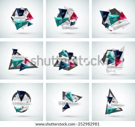 Set of triangle shape modern paper infographics. Minimal design - stock vector