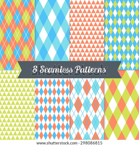 Set of Triangles, Argyle and Harlequin Seamless Patterns in Light Blue, Cyan, Lime, Orange and White. Perfect for wallpapers, pattern fills, background, textile, birthday and wedding cards