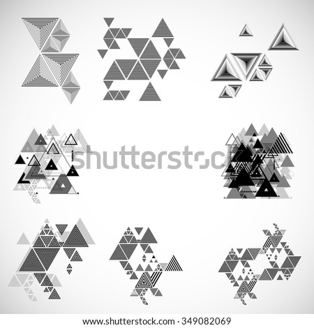 Set of Triangles .Design Elements . Vector Hipster Background .  Modern Geometrical Template . - stock vector