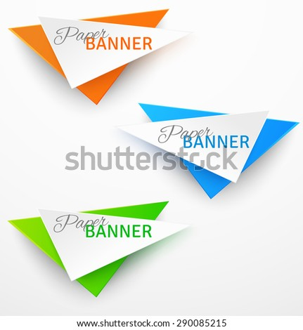 Set of triangular colorful paper origami banners. Vector illustration - stock vector