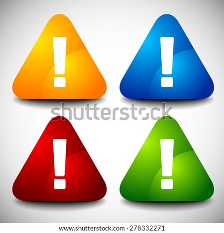 Set of triangular road sign icons with exclamation marks. Vector. - stock vector