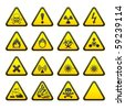 Set of Triangular Warning Hazard Signs - stock vector