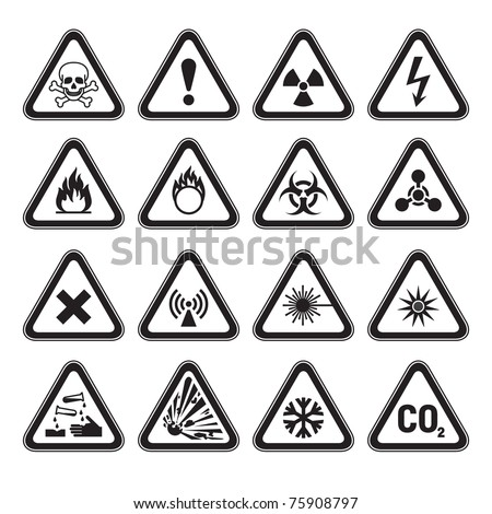 Set of Triangular Warning Hazard Signs black - stock vector