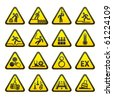 Set of Triangular Warning Hazard  Signs vector - stock vector