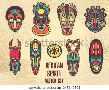 set of tribal african masks, vector illustration - stock vector