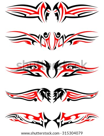 Set of Tribal Indigenous Tattoos in Black and Red Colors. Elegant Smooth Design Over White Background. Vector Illustration. - stock vector